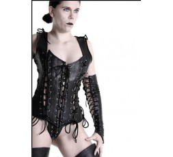 Sexy Shop Online I Trasgressivi - Abbigliamento In Pelle - Corsetto in Pelle Laced Up Corset Nero - Your Fetish World