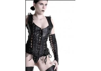 Abbigliamento In Pelle - Corsetto in Pelle Laced Up Corset Nero - Your Fetish World