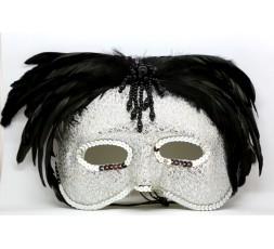 Sexy Shop Online I Trasgressivi - Accessorio Per Carnevale - Maschera In Stile Veneziano Con Le Piume Nere