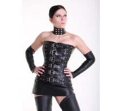 Sexy Shop Online I Trasgressivi - Abbigliamento In Pelle - Corsetto In Pelle Con Borchie Nero - Your Fetish World