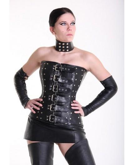 Sexy Shop Online I Trasgressivi - Abbigliamento In Pelle - Corsetto In Pelle Con Borchie Nero - Your Fetish World