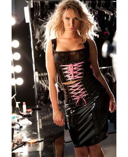 Sexy Shop Online I Trasgressivi - Abbigliamento In Vinile - Top in Vinile con Nastro Rosa - Allure