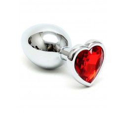 Sexy Shop Online I Trasgressivi - Plug Anale In Metallo - Butt Plug Small With Heart Shaped Crystal Rosso - Rimba