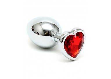 Il consiglio del giorno: Plug Anale In Metallo - Butt Plug Small With Heart Shaped Crystal Red - Rimba