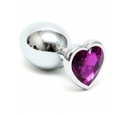 Sexy Shop Online I Trasgressivi - Plug e Dildo Anale In Metallo - Butt Plug Small With Heart Shaped Crystal Cuore Viola - Rimba