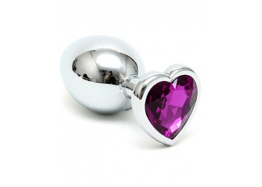Plug Anale In Metallo - Butt Plug Small With Heart Shaped Crystal Purple - Rimba
