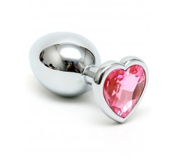 Sexy Shop Online I Trasgressivi - Plug Anale In Metallo - Butt Plug Small With Heart Shaped Crystal Rosa - Rimba