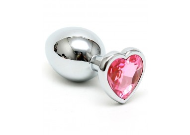 Plug Anale In Metallo - Butt Plug Small With Heart Shaped Crystal Rosa - Rimba