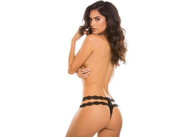 Sexy Lingerie - Crotchless Rhapsody Panty Black - Allure