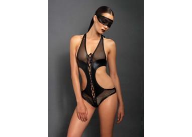 Sexy Lingerie - Crotchless Teddy & Eye Mask Black - Leg Avenue