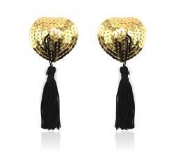 Sexy Shop Online I Trasgressivi - Accessori Vari - Copricapezzoli Cuore Heart Shine Nipples Tassels Oro - Toyz4Lovers