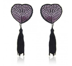 Copricapezzoli Neri Con Brillantini Rosa - Heart Shine Nipples Tassels - Toyz4Lovers