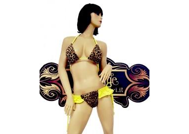 Bikini Transgender - Bikini Leopardato con Frangette Giallo Fluo - Ivete Pessoa
