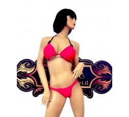 sexy shop online i trasgressivi Bikini Rosa con fiocco Nero - Ivete Pessoa